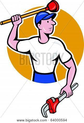 Plumber Wielding Wrench Plunger Cartoon