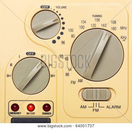 Control panel of radio, closeup picture
