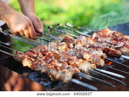 Marinated Shashlik, Lamb Meat Grilling On Metal Skewer, Close Up