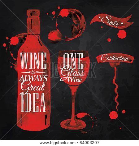 Pointer drawn pour wine chalk