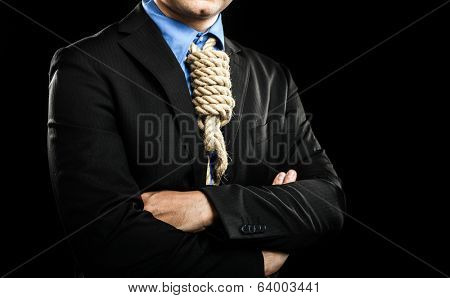 Businessman showing a loop knot instead of his necktie