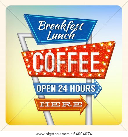 Retro Neon Sign Breakfest Coffee