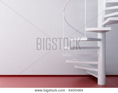 Spiral Stair To A Blank Wall