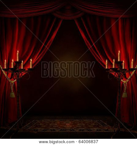 mystery room with candles