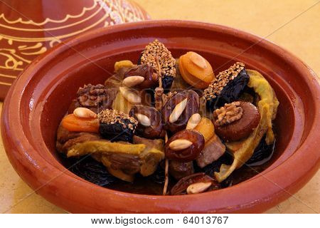 Morocco, Tajine of lamb with dried fruits.