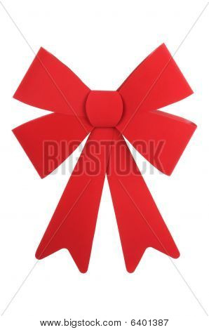 Big Red Christmas Bow White Isolated Background