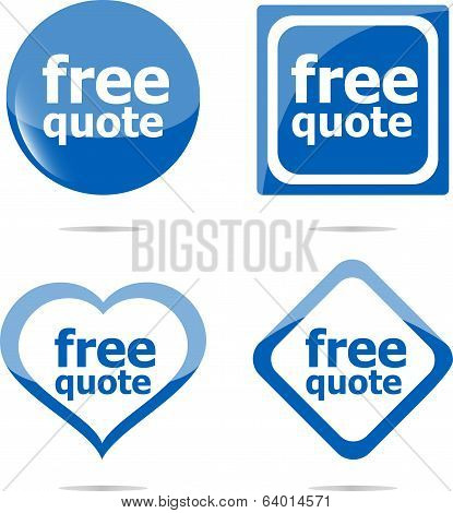Free Quote Stickers Label Tag Set Isolated On White