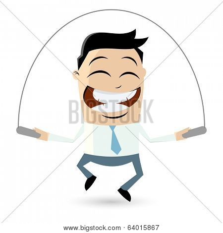 funny businessman is skipping rope