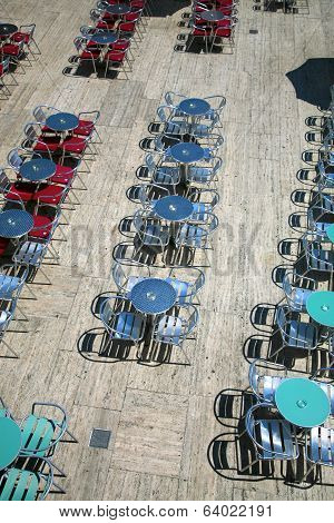 Terrace And Empty Tables