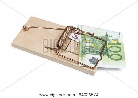 Euro banknote in mouse trap isolated on white with clipping path