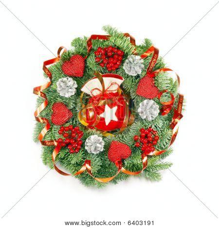 Expressive Christmas Wreath On White
