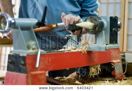 Wood Turner on Work