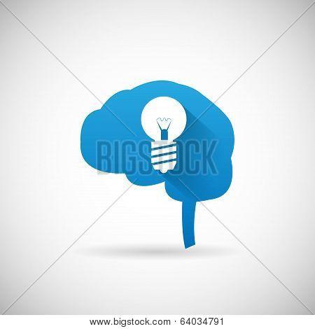 Creative Idea Symbol Brain and lightbulb Silhouette Icon Design Template Vector Illustration