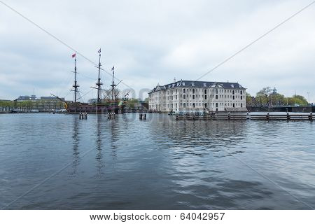 AMSTERDAM NETHERLANDS - APRIL 6: The National Maritime Museum in Amsterdam Netherlands is devoted to