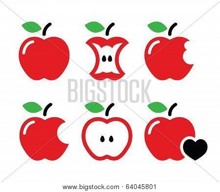 Red apple, apple core, bitten, half vector icons