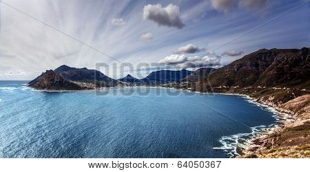 South Africa bay view, panoramic landscape of Capetown, aerial view on Atlantic sea, majestic scene of mountains, beauty of nature concept poster