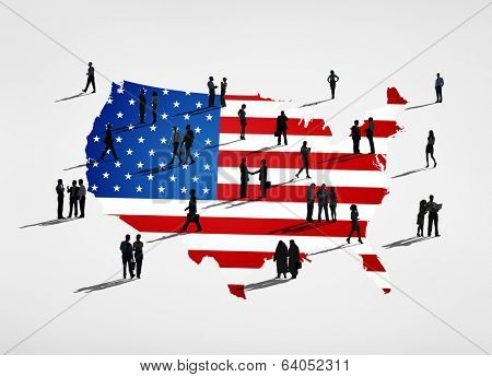 American flag and a group of business people.