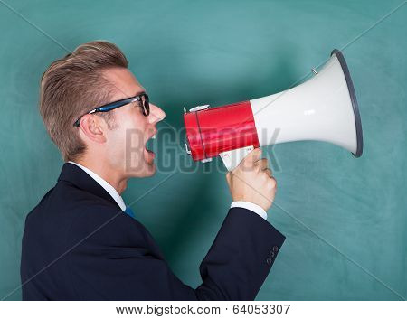 Male Professor Shouting Though Megaphone