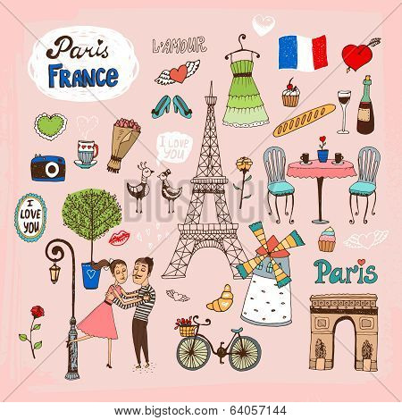 Set of hand-drawn Paris  France landmarks and icons with lovers  the Eiffel Tower  lamppost  fashion  Arc de Trimphe  bicycle  baguette and outdoor restaurant poster