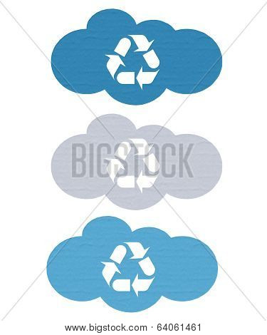 Cloud labels with recycling symbol