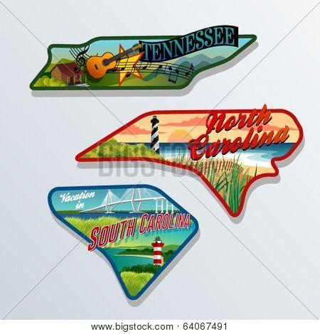 luggage sticker designs of Tennessee, South Carolina, and North Carolina United States