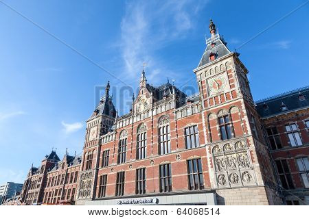 AMSTERDAM NETHERLANDS - APRIL 5: Amsterdam Central Station is Amsterdam's main railway station. It i