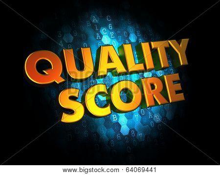 Quality Score - Gold 3D Words.
