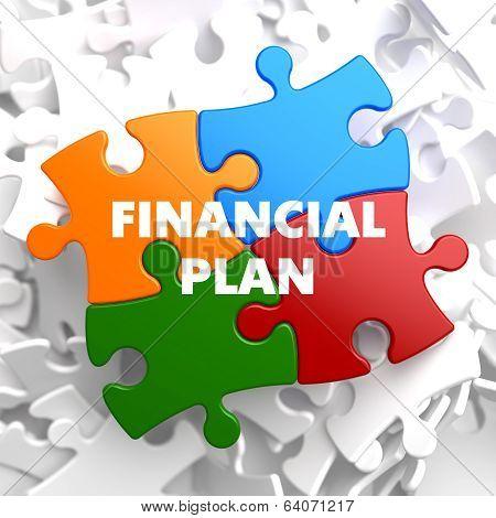 Financial Plan on Multicolor Puzzle.