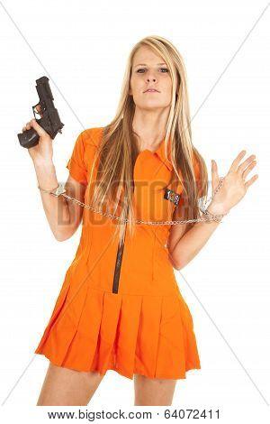 Prisoner Orange Gun Hands Up