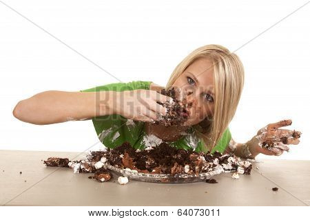 Woman Green Shirt With Cake Lean Eat