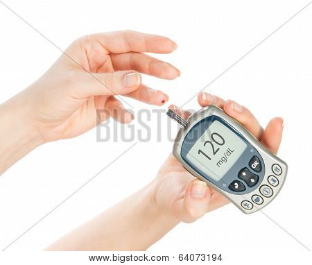 Diabetes Measure Glucose Level Blood Test Glucometer
