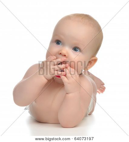 Infant Child Girl Lying Happy Holding Baby Nipple Soother