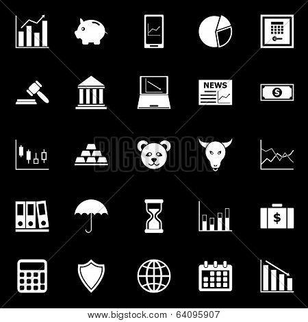 Stock Market Icons On Black Background