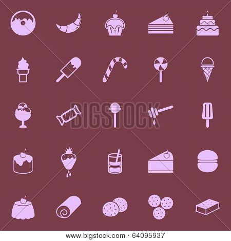 Dessert Color Icons On Dark Background