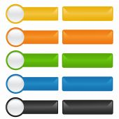Rectangular buttons in different colors on a white background. poster