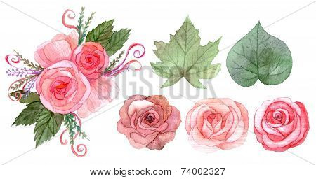 Set Of Red Pink Flowers And Leaves