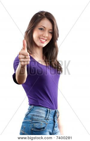 Woman Making Thumbs Up Sign