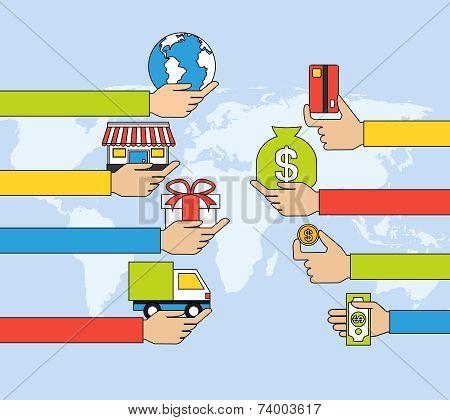 Online shopping flat line