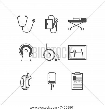 Black vector icons for resuscitation