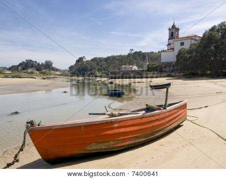 Aground Boat In The Low Tide