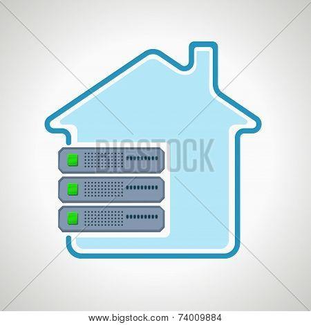 colocation Cloud technologies. Computer icon server. design element