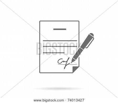 Business contract with signature. Flat vector icon poster