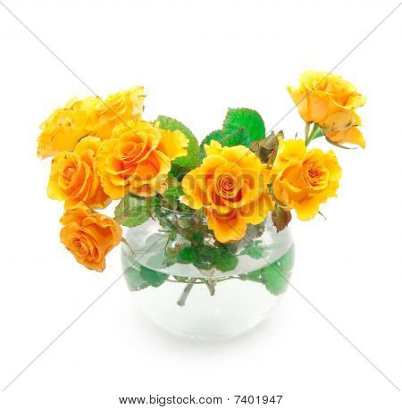 Bouquet Of Orange Roses In A Round Vase