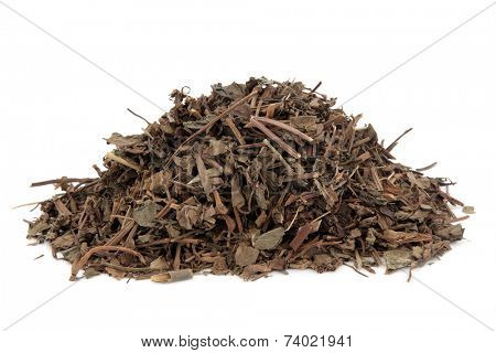 Houttunynia herb used in chinese herbal medicine over white background.  Yu xing cao.