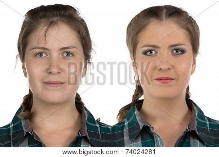 Photo of young woman before-after make up