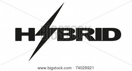 Logotype letters Hybrid with lightning. Eco electric transport theme.