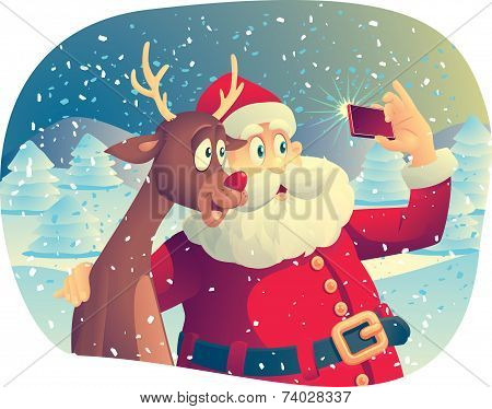 Santa Claus and the Reindeer Taking a Photo Together