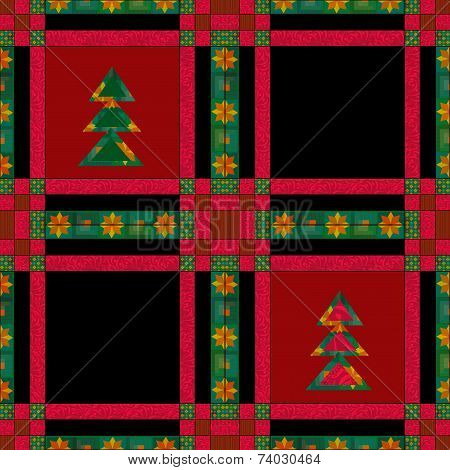 Christmas seamless pattern in the style of patchwork texture background poster
