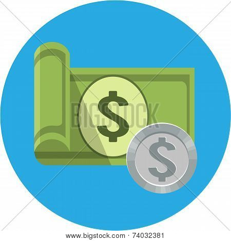 Banknotes and Coins  vector illustration in flat style eps10 poster