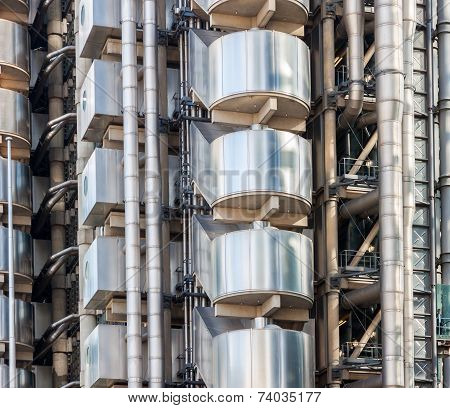 Exterior Details Of Lloyds Building In London.